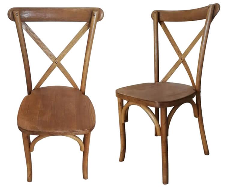 oak light color cross back chairs