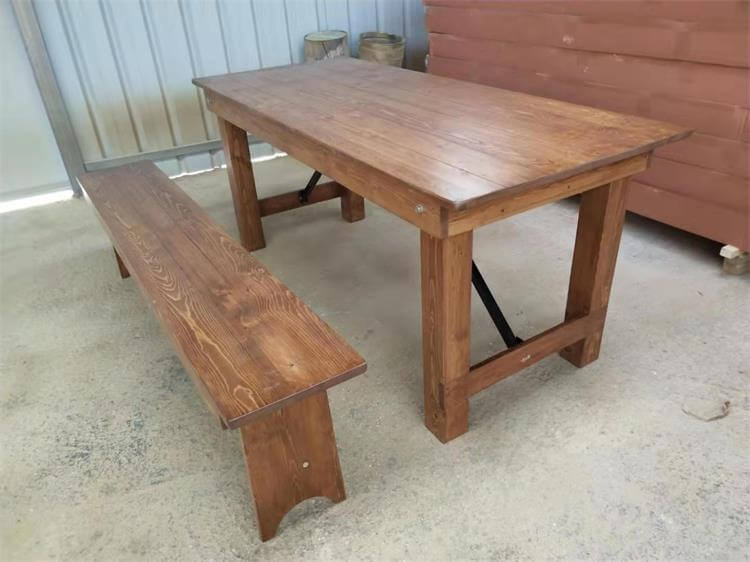 farm tables and benches