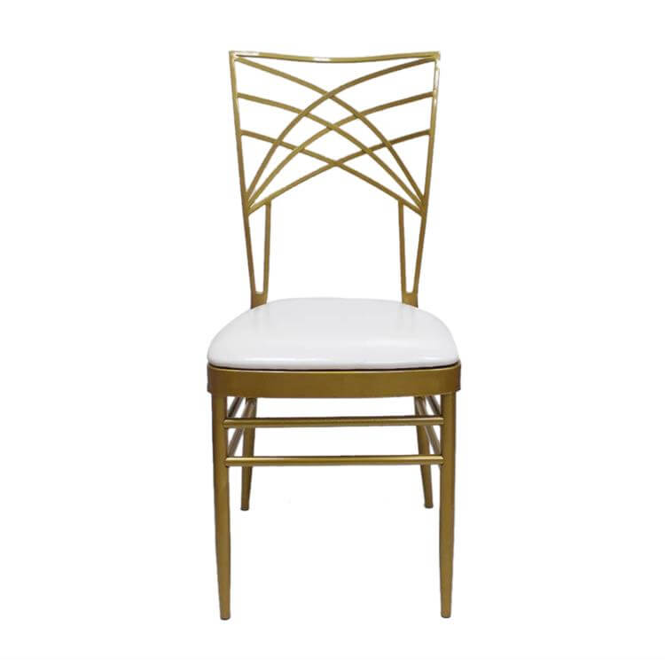 gold steel chairs with white cushion