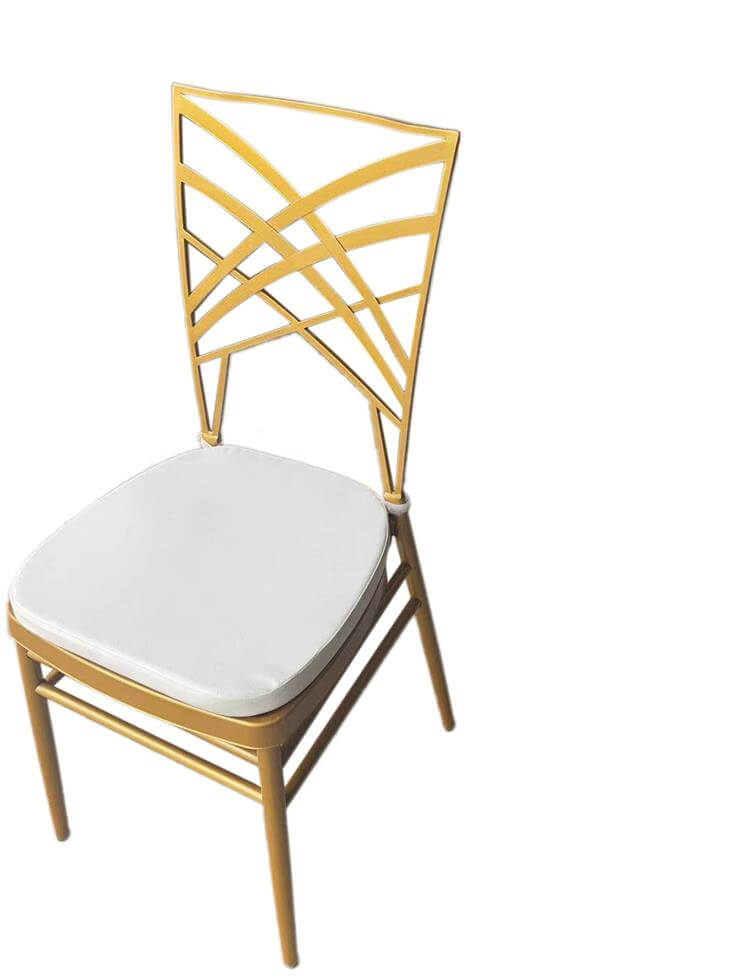 gold steel chair with white cushion