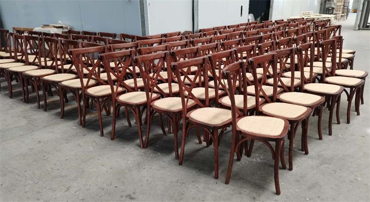 Brown color chair with rattan seat