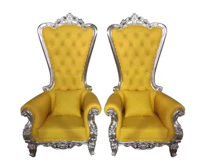 Yellow throne chairs manufacture