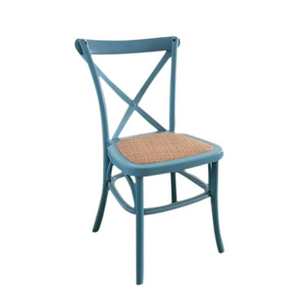 blue rattan seat x back chairs