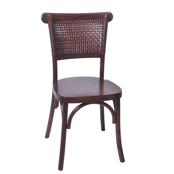 rattan back chair with solid seat