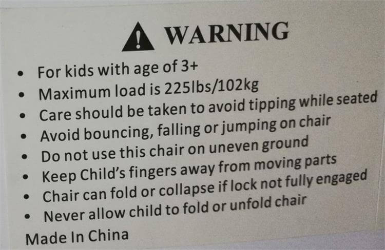 warning labal of kid folding chairs