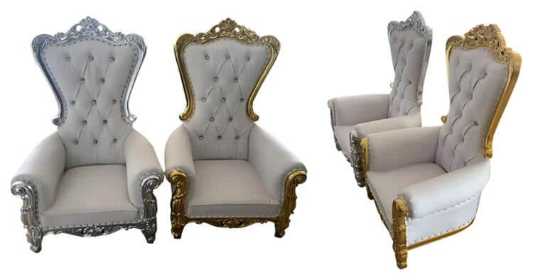 white and gold royal chairs for kids