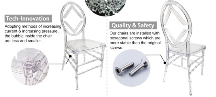 details of resin chiavari chairs