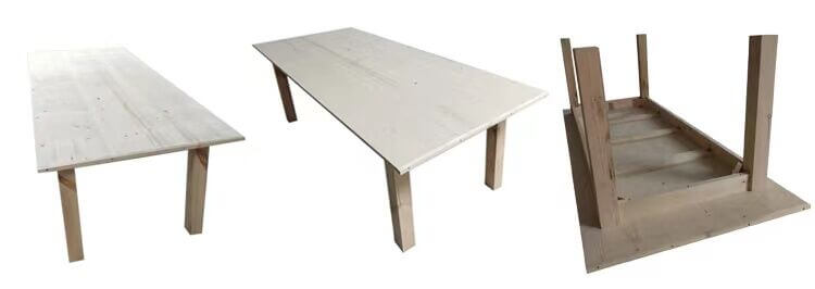 Square Legs Farm Tables Without Metal Bars