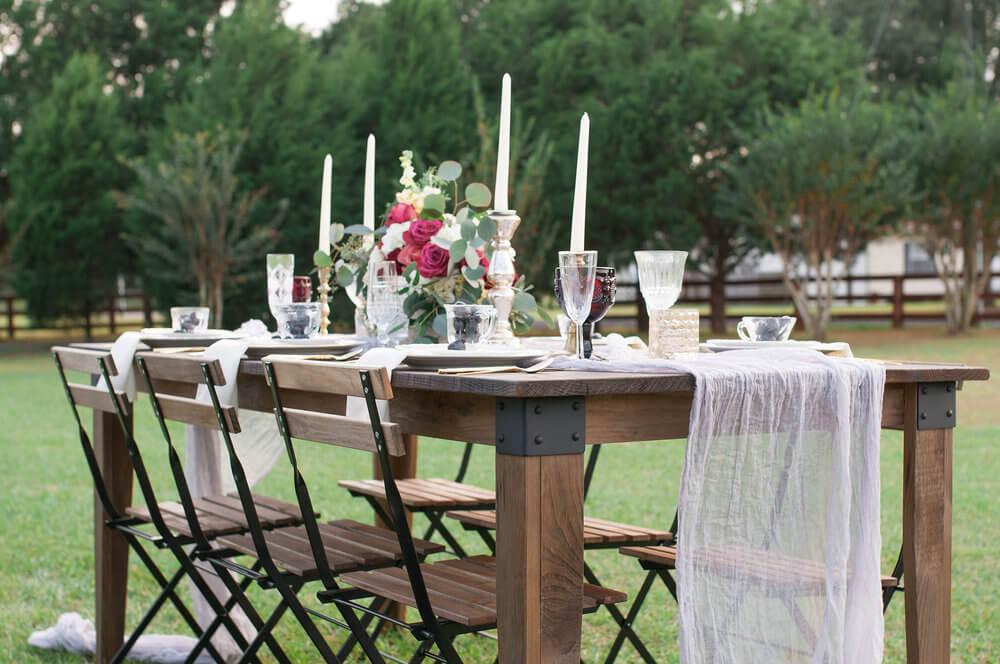 wedding farm tables