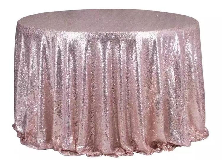 pink full sequin table clothes