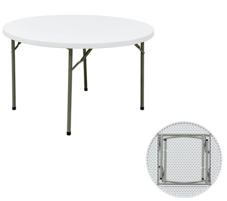 plastic round banquet table white