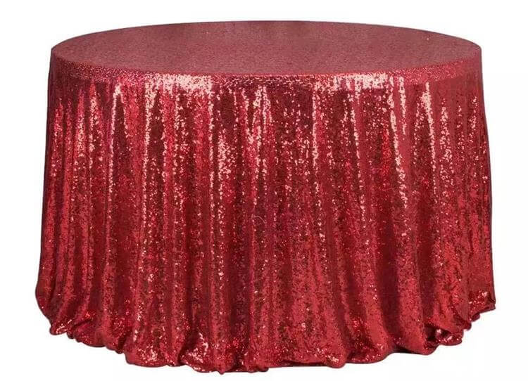 red sequin table cloths