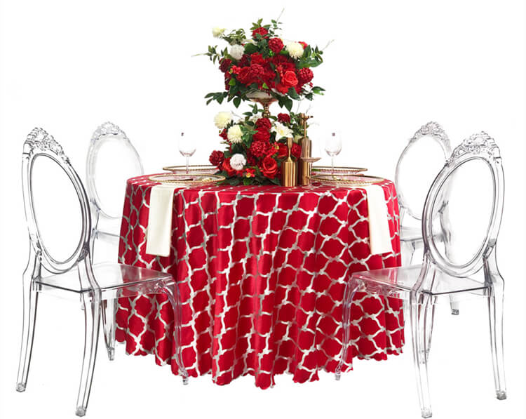red wedding table cover