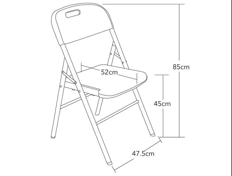 size of folding chairs