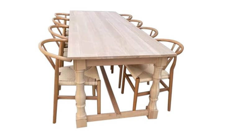 wooden farm tables and chairs factory
