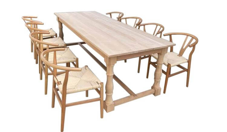 farm tables and Y chairs