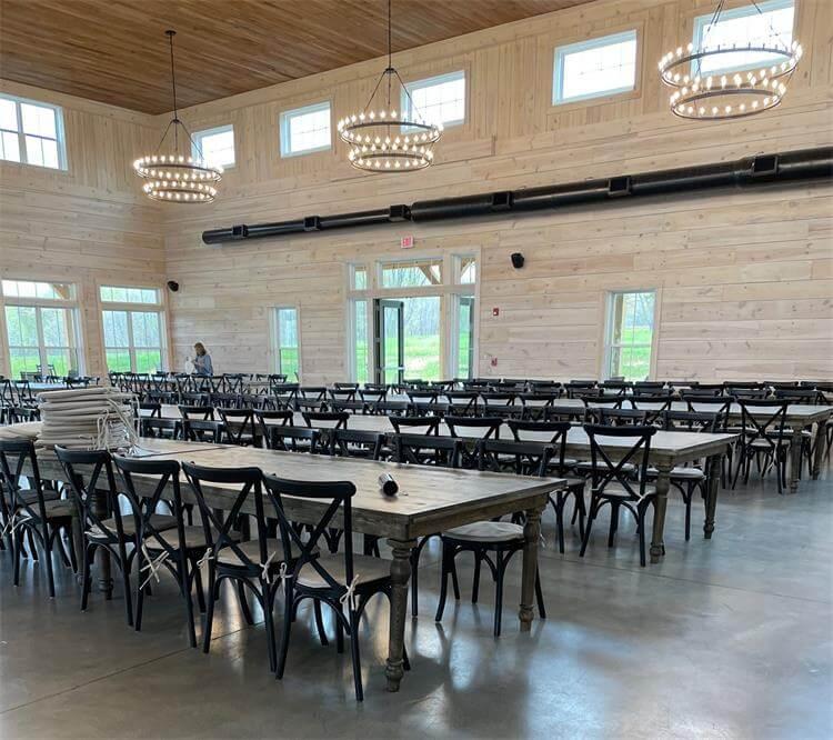 black farmhouse tables