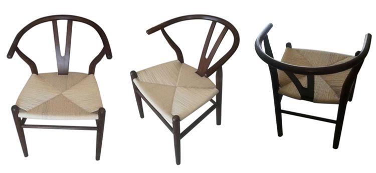 walnut wishbone chairs