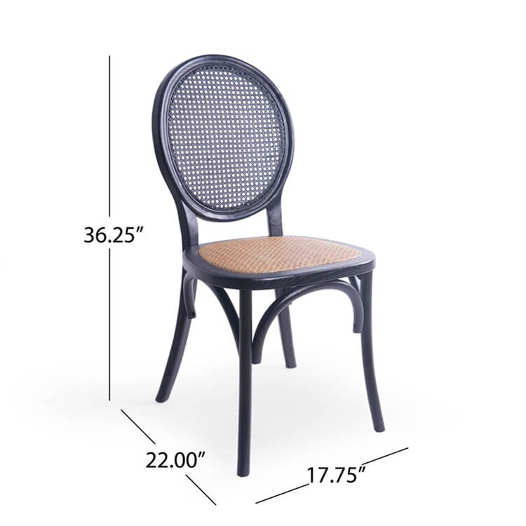 rattan back chair size