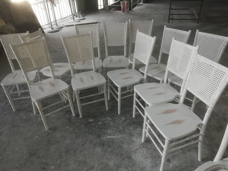 rattan back chiavari chair