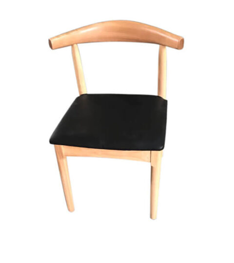 Natural Solid Wood PU Leather Cushion Chair