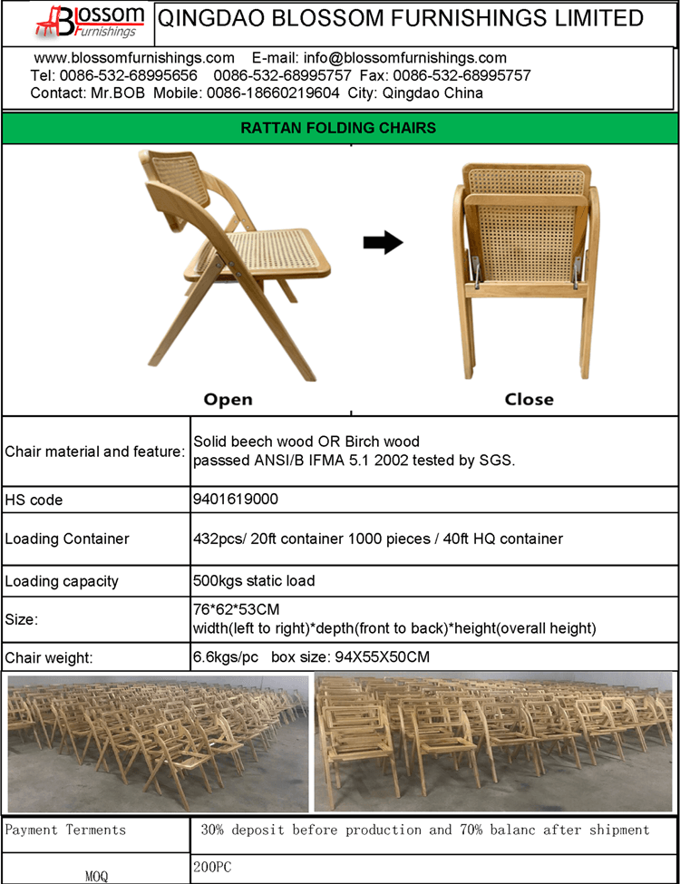 Rattan folding chairs factory