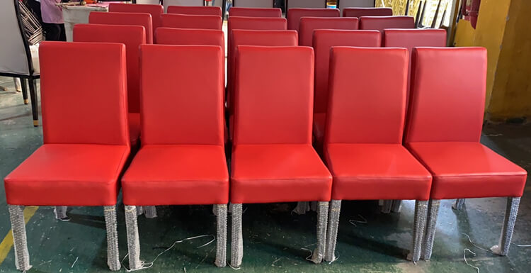 red leather dining chairs factory