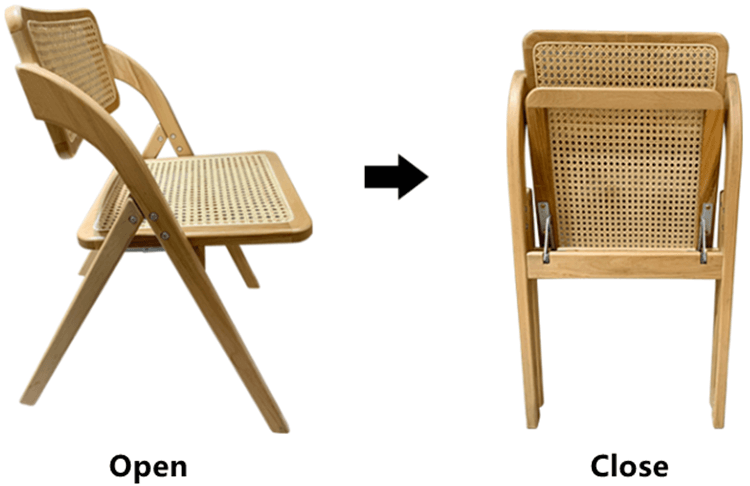 wooden cane folding chair