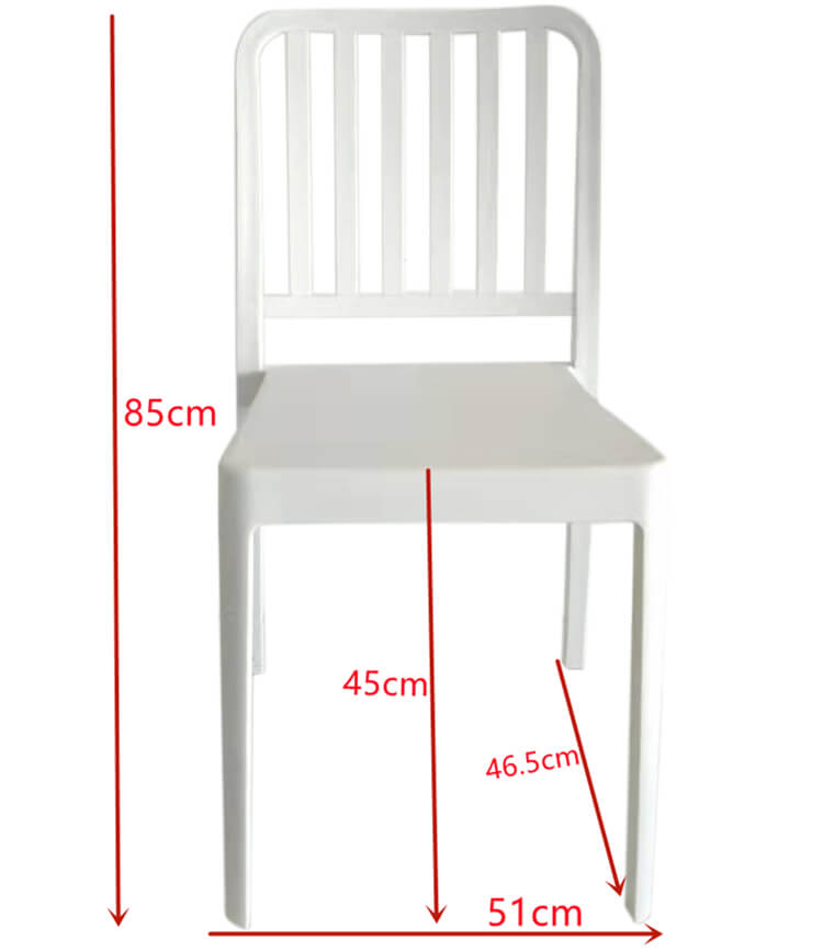 plastic dining chair size