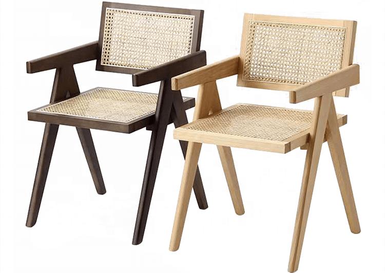 wooden cane wicker chair